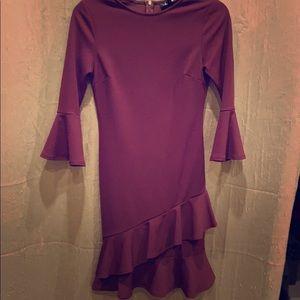 Lulu's purple ruffled bodycon dress